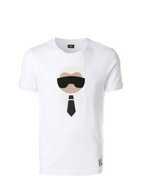 Camiseta con cuello circular estampada blanca de Fendi