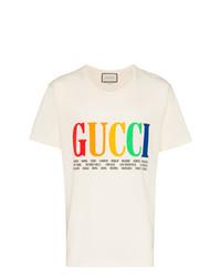 Camiseta con cuello circular estampada blanca de Gucci
