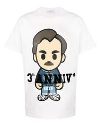 Camiseta con cuello circular estampada blanca de Ih Nom Uh Nit