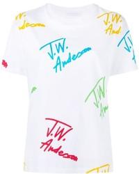 Camiseta con cuello circular estampada blanca de J.W.Anderson