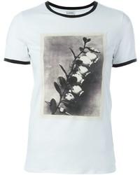 Camiseta con cuello circular estampada blanca de Loewe