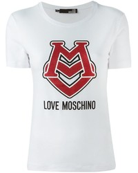Camiseta con cuello circular estampada blanca de Love Moschino