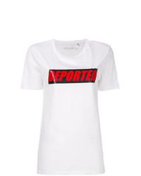 Camiseta con cuello circular estampada blanca de Manokhi