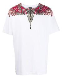 Camiseta con cuello circular estampada blanca de Marcelo Burlon County of Milan