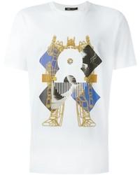 Camiseta con cuello circular estampada blanca de MCM