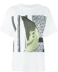 Camiseta con cuello circular estampada blanca de MM6 MAISON MARGIELA