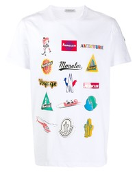 Camiseta con cuello circular estampada blanca de Moncler
