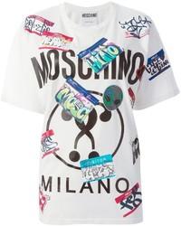 Camiseta con cuello circular estampada blanca de Moschino