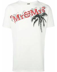 Camiseta con cuello circular estampada blanca de Mr & Mrs Italy