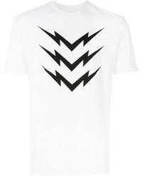 Camiseta con cuello circular estampada blanca de Neil Barrett