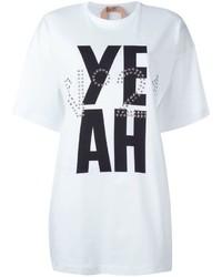Camiseta con cuello circular estampada blanca de No.21