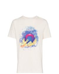 Camiseta con cuello circular estampada blanca de Off-White
