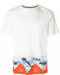 Camiseta con cuello circular estampada blanca de Paul Smith