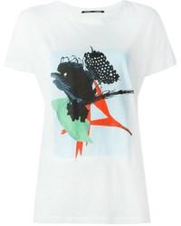 Camiseta con cuello circular estampada blanca de Proenza Schouler