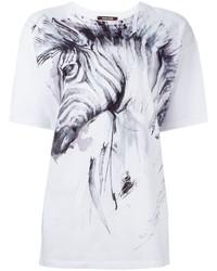 Camiseta con cuello circular estampada blanca de Roberto Cavalli
