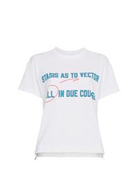 Camiseta con cuello circular estampada blanca de Sacai