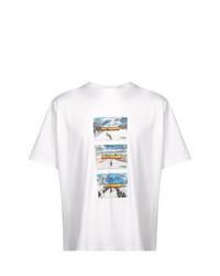 Camiseta con cuello circular estampada blanca de Sunnei