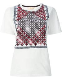 Camiseta con cuello circular estampada blanca de Tory Burch