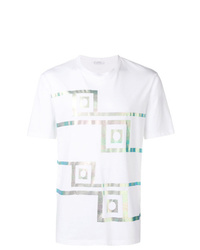 Camiseta con cuello circular estampada blanca de Versace Collection