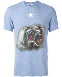Camiseta con cuello circular estampada celeste de Givenchy