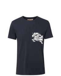 Camiseta con cuello circular estampada en azul marino y blanco de Burberry