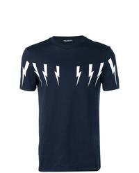 Camiseta con cuello circular estampada en azul marino y blanco de Neil Barrett
