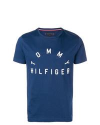 Camiseta con cuello circular estampada en azul marino y blanco de Tommy Hilfiger