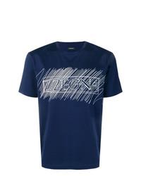 Camiseta con cuello circular estampada en azul marino y blanco de Z Zegna