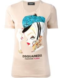 Camiseta con cuello circular estampada en beige