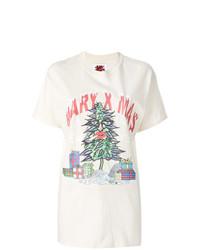 Camiseta con cuello circular estampada en beige de Bad Deal