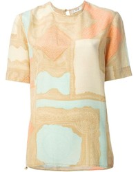 Camiseta con cuello circular estampada en beige de Celine