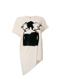 Camiseta con cuello circular estampada en beige de Lost & Found Ria Dunn