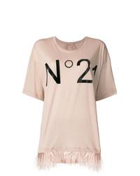 Camiseta con cuello circular estampada en beige de N°21