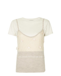 Camiseta con cuello circular estampada en beige de Tu Es Mon Trésor