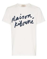 Camiseta con cuello circular estampada en blanco y azul marino de MAISON KITSUNÉ