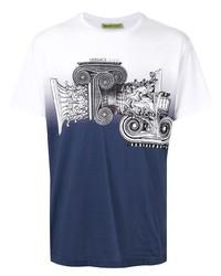 Camiseta con cuello circular estampada en blanco y azul marino de VERSACE JEANS COUTURE
