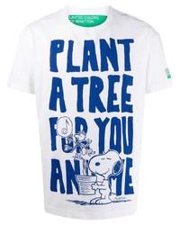 Camiseta con cuello circular estampada en blanco y azul de Benetton