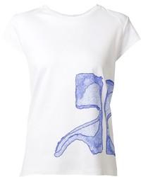 Camiseta con cuello circular estampada en blanco y azul de Courreges