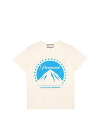 Camiseta con cuello circular estampada en blanco y azul de Gucci