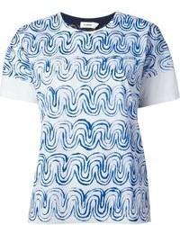 Camiseta con cuello circular estampada en blanco y azul de Jil Sander