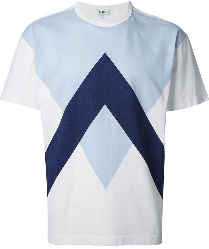 Camiseta con cuello circular estampada en blanco y azul de Kenzo ... ec4af8bc20c8e