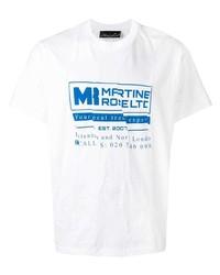 Camiseta con cuello circular estampada en blanco y azul de Martine Rose