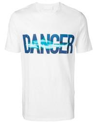 Camiseta con cuello circular estampada en blanco y azul de Neil Barrett