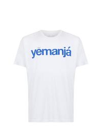 Camiseta con cuello circular estampada en blanco y azul de OSKLEN