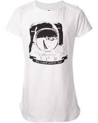 Camiseta con cuello circular estampada en blanco y negro