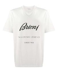 Camiseta con cuello circular estampada en blanco y negro de Brioni