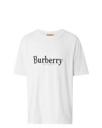 Camiseta con cuello circular estampada en blanco y negro de Burberry