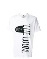 Camiseta con cuello circular estampada en blanco y negro de Cédric Charlier