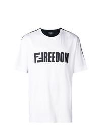 Camiseta con cuello circular estampada en blanco y negro de Fendi