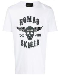 Camiseta con cuello circular estampada en blanco y negro de John Richmond